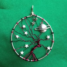 Pink and Black Galaxy with Stars Tree of Life necklace £15.00