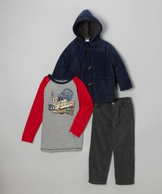 Take a look at this Navy 'World Traveler' Raglan Tee Set - Infant & Boys by Nannette on #zulily today!