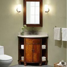 Xylem Carlton Corner Bathroom Vanity Set in Antique Maple Corner Bathroom Vanity, Bathroom Vanity Designs, Small Bathroom Vanities, Small Bathroom Storage, Small Bathrooms, Corner Mirror, 1950s Bathroom, Downstairs Bathroom, Simple Bathroom