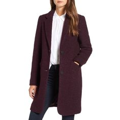 Women's Andrew Marc Paige Wool Blend Boucle Coat (36 KWD) ❤ liked on Polyvore featuring outerwear, coats, burgundy, marc new york, purple coats, wool blend coat, marc new york coat and burgundy coat