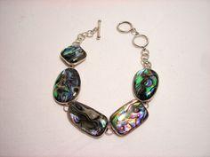 "Sterling Silver Abalone Paua LUC Bracelet 8"" #LUC #Chain"
