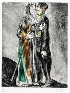 Marc Chagall - Moses meets in the desert his brother Aaron, who came towards him at the behest of God (Exodus, IV, 27-28), 1931 - Haggerty Museum