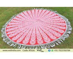 Red and White Indian Tassel Round Mandala Peacock Tapestry Yoga Mat Beach Throw Towel Hippie Roundie Picnic Blanket Rug by Vedindia.com