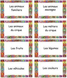 Cards for creating lists of words: a way to practice vocabulary in French