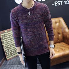 Men Fashion Warm Round Neck Sweater