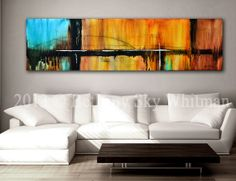 HUGE Original Modern Abstract Art Colorful Contemporary Painting 20 X 70 Free Shipping Ready to hang