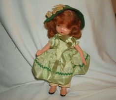 "NASB NANCY ANN Storybook Doll #111 Little Joan ~ 5-1/2"" Bisque Doll ~ Mint Green Taffeta Dress by PastPossessionsOnly on Etsy"