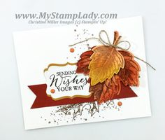 Create a clean and simple card with the Stmpin' Up! Vintage Leaves bundle. The corresponding dies make it so easy to layer the leaves.