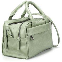Zara Double Zip Bowling Bag ($50) ❤ liked on Polyvore featuring bags, handbags, double zipper handbag, double zip handbag, bowler purse, green bags and double zipper bag