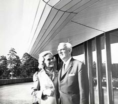 Henie Onstad, Høvikodden. SONJA HENIE AND NIELS ONSTAD IN FRONT OF THE ART CENTRE, 1968 Norway Destinations, Oslo, Gallery, Centre, Shops, Inspiration, Image, Collection, Art
