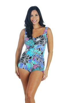 10fed5f8010 Maxine Tahitian Floral Shirred Front Girl Leg Swimsuit Front Swimwear