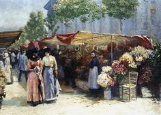 Flower Market at the Church of St. Madeleine in Paris by Józef Pankiewicz, 1890 Muzeum Narodowe w Poznaniu (MNP) Robert Delaunay, James Mcneill Whistler, Fauvism, Pond Fountains, Paul Cezanne, Shade Trees, Flower Market, Flower Fashion, National Museum