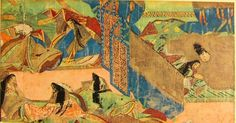 """A scene of the Chapter """"YADORI GI""""( mistletoe ) of Illustrated handscroll of Tale of Genji (written by MURASAKI SHIKIBU(11th cent.). The handscroll was made in about ACE1130 and stored in TOKUGAWA Museum, Japan. The handscroll were separated to each sections and mounted to frame for conservation. Height about 21.5cm."""
