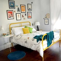 Brilliant: Pewter gray ikea bed frame painted yellow. Shoulda kept that frame of mine!