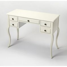 Featuring a Cottage White finish, five drawers and cabirole legs this desk works great in any space. Tuck an elegant stool beneath this crisply finished desk to create a chic vanity, or pull up a colorful office chair for an inspired workspace. Secretary Desk With Hutch, Computer Desk With Hutch, Secretary Desks, White Writing Desk, Wood Writing Desk, Desk And Chair Set, Stanley Furniture, Solid Wood Desk, Pub Set