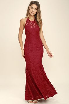 The epitome of style and class, the Live Forever Wine Red Lace Maxi Dress is sure to stun! Floral lace glides effortlessly down a halter neckline (with hidden hook clasp closure and sweetheart silhouette) into a full maxi skirt with godets. Hidden back zipper/hook clasp.