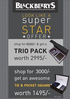 #BlackBerrys Offers @SISM. Complete your Professional attire with stunning look by wearing #BlackBerrys outfits from #SouthIndiaShoppingMall. Shop today because Now BlackBerrys offering a special offers on your shopping. Be a complete Man by Grabing these Offers from #SouthIndia Shopping Mall..