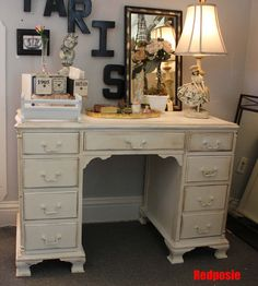 DIY: What the old desk in the spare room could look like in my new shabby chic office...hutch too?