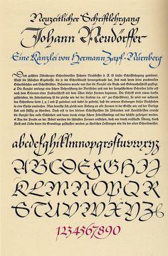 Kanzlei alphabet by Hermann Zapf (1940) for Die zeitgemässe Schrift. From ABC–XYZapf (1989), p. 219.