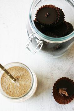 raw vegan caramel chia pudding & raw almond butter cups