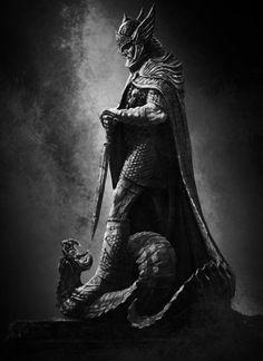 Sigurd slaying the dragon Fafnir.