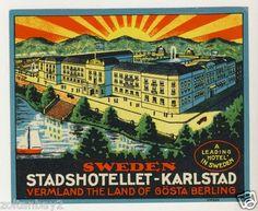 Old Luggage Label Etichetta Kofferaufkleber Stadshotellet Karlstad Sweden   eBay