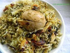 Geeths Dawath : Egg green masala biryani with stepwise pictures