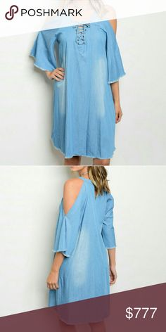 Cold-shoulder denim dress Sassy tunic style denim dress featuring tie up front and sexy cold shoulders!!! Pair with booties and a floppy hat! Dresses