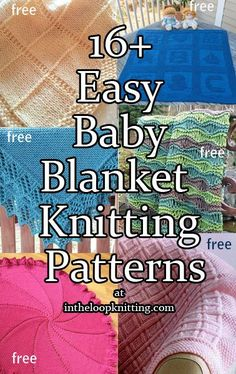 Knitting patterns for easy baby blankets. Many of the patterns are free. SOME ARE NOT IN ENGLISH.