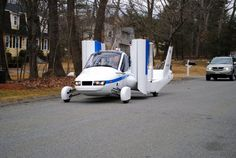 Flying car gets closer to reality with test flight. This March 23, 2012 photo provided by Terrafugia Inc. shows the company's prototype flying car, dubbed the Transition, during its first flight. The vehicle has two seats, four wheels and wings that fold up so it can be driven like a car, and flew at 1,400 feet for eight minutes during the test. Commercial jets fly at 35,000 feet.