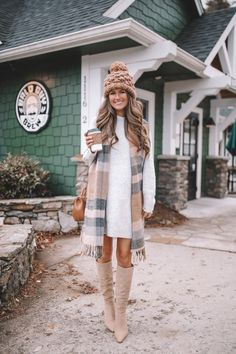 Outfit on Repeat – Southern Curls & Pearls Cute Hiking Outfit, Southern Curls And Pearls, Winter Dress Outfits, Outfit Winter, Winter Wear, Warm Dresses, On Repeat, Thanksgiving Outfit, Moda Femenina