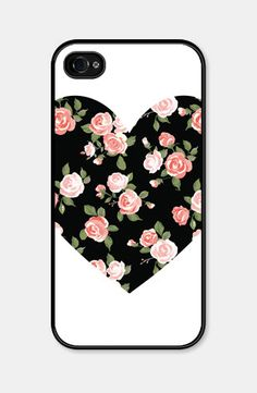 Heart Floral Black and Peach Floral iPhone Case