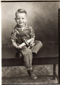 1940-50'S 5X7 CONTACT PRINT BOY HOLDING METAL JET PLANE TOY LOCKHEED