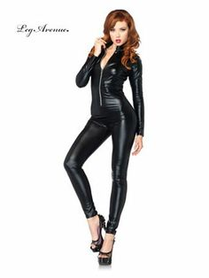 Black Lame Zipper Front Catsuit Sexy Women's Costume - Sexy Cat Suits Halloween Costumes