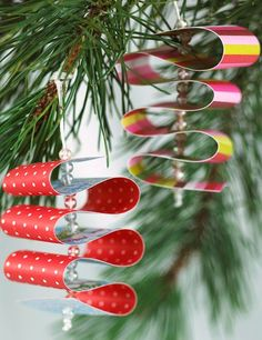These Paper Ribbon Candy Ornaments are beautiful paper crafts for Christmas!
