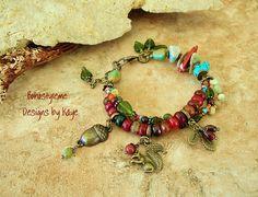 Boho Jewelry Woodland Squirrel Acorn Charm Bracelet by BohoStyleMe