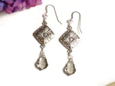 Silver Color Dangle Earrings with Swarovski Crystals by frisado. Explore more products on http://frisado.etsy.com