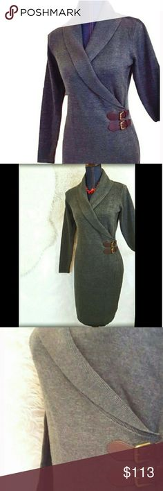 """RALPH LAURENS CHAPS New SweaterDress Gray Large P A Stunning sweaterdress By Ralph Lauren's Chaps. As always with his dresses, stunning and cut in a way that makes you look 10 lbs lighter every time you put it on! I have one myself! This new with tags faux-wrap sweater dress features a double buckle. Long sleeve. Its fashionable and oh-so-comfy. Medium or Large Petite. Listing for sweaterdress alone. Cotton/Acrylic/Nylon.Some stretch.Approx flat measurem.: bust 19"""". 36-37"""" long. In gray…"""