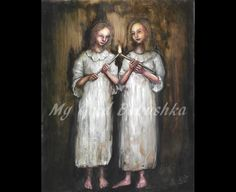Candle, Original Painting, Girls, Candle Light, Nightgowns, Surreal, Night Light, Sharing, Light A Candle, White, Night, Darkness by mygoodbabushka on Etsy