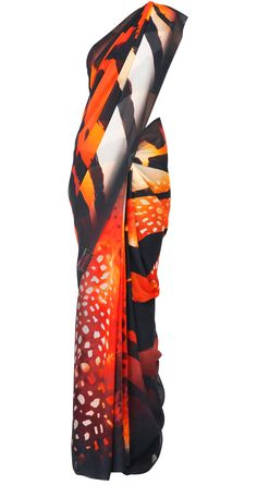 Black and red georgette sari with graphic print by SATYA PAUL. Shop at https://www.perniaspopupshop.com/whats-new/satya-paul-4