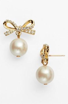 Kate Spade pearl and bow earrings