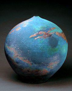 "Gorgeous. Reminds me of the earth shots taken in space. M.Wein Barium Matt Gl. blossom Jar 13 """