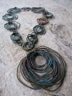Necklace | Jamie Spinello. Copper and patina.