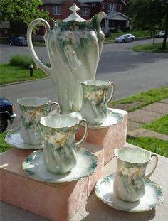 1905 RS Prussia Chocolate Set Pot 4 Cups Saucers Red Mark Wreath Star Luster <3~ ♥ ~ ✿⊱╮♥ ~ :-)