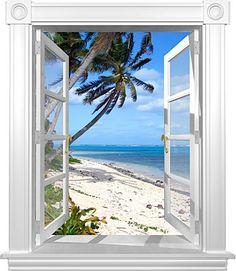 "Amazon.com: Coconut Beach Window Mural - 36""X42"" - Matte Finish: Home & Kitchen"