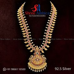 Elegant Long Haram with traditional motifs etched in semi precious stones, cz diamonds in 92.5 silver from Shree Ambica - Your Trusted Jewellers. Pick this for the upcoming festive/wedding season. Readily available in stock Call/WhatsApp - +91986611050 #ShreeAmbica #silver #silverjewellery #trustedjewellery #pearls #emerald #marwadijewellery #marwadistyle #newcollection #shadisaga #hyderabadshopping South Indian Jewellery, Indian Jewellery Design, Jewellery Designs, Silver Jewellery, Indian Jewelry, Wedding Season, Festive, Emerald, Diamonds