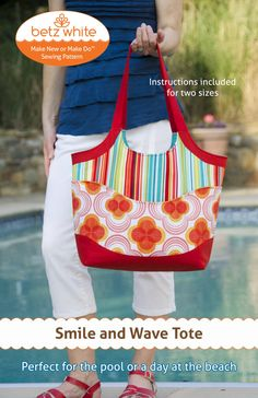 Smile and Wave Tote Bag PDF Sewing Pattern by betzwhite on Etsy, $12.95
