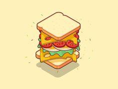 Sandwich by Nikolay Afonin Sandwich Drawing, Maya, Best Icons, Food Icons, Food Drawing, Logo Food, Food Illustrations, Logo Design Inspiration, Anime