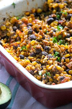 Healthy Black Bean Casserole by simplegreenmoms #Casserole #Black_Bean #Rice #Healthy
