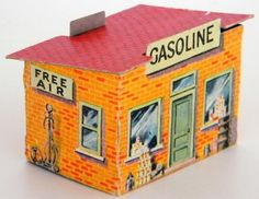 1940`s Vintage Cardboard Gas Station - by Toy Connect - == -  Ed and Bettina Berg, from Toy Connect website continue their great work of preservation of old paper models and today they share this cool 1940`s Vintage Cardboard Gas Station.